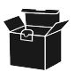 Black icon of a sales box on white background